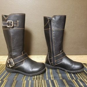 Girl Kid Boot Black Leather Size 12